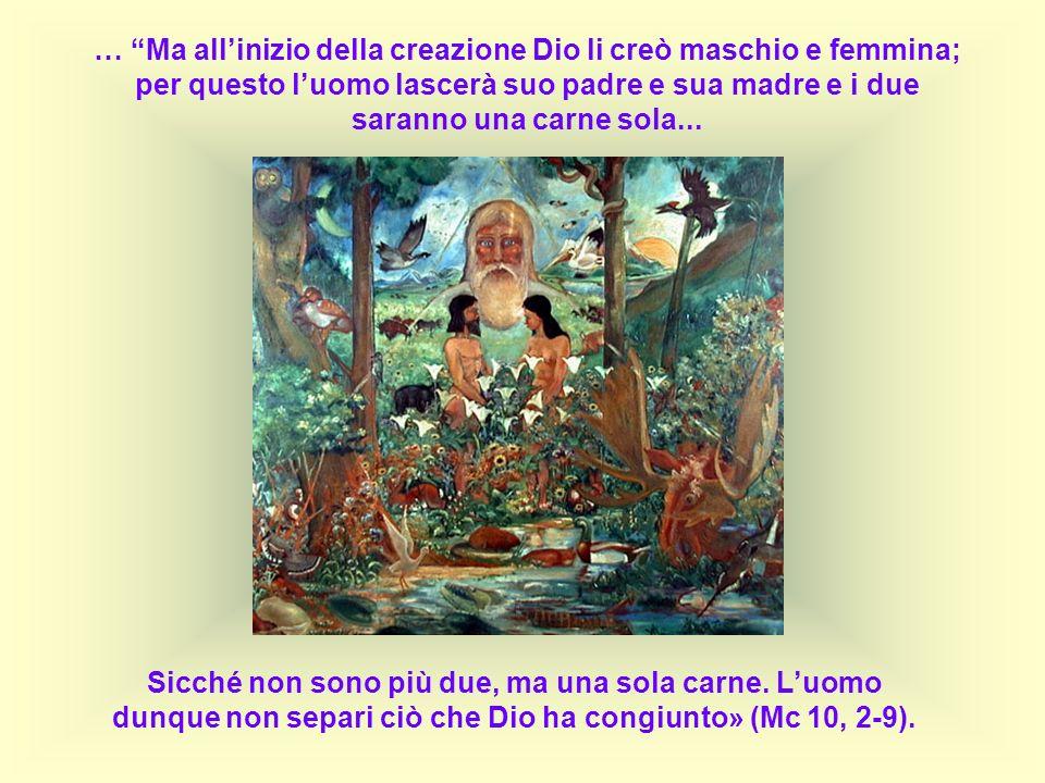 … Ma all'inizio della creazione Dio li creò maschio e femmina; per questo l'uomo lascerà suo padre e sua madre e i due saranno una carne sola...