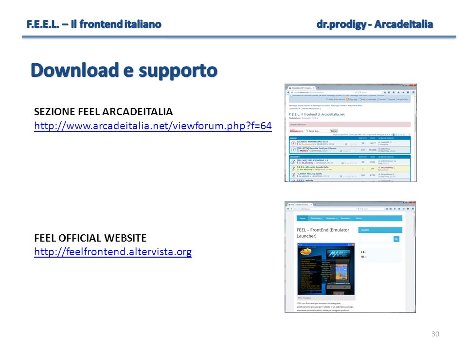 Download e supporto F.E.E.L. – Il frontend italiano