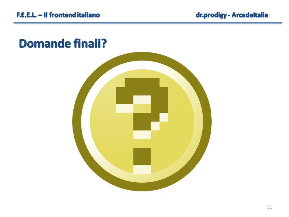 Domande finali F.E.E.L. – Il frontend italiano