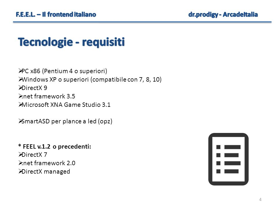 Tecnologie - requisiti