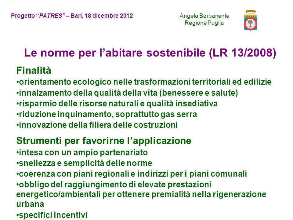 Le norme per l'abitare sostenibile (LR 13/2008)