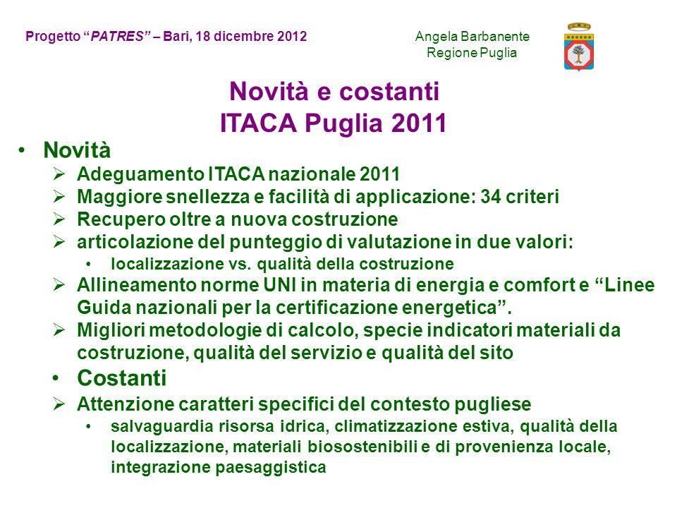 Novità e costanti ITACA Puglia 2011