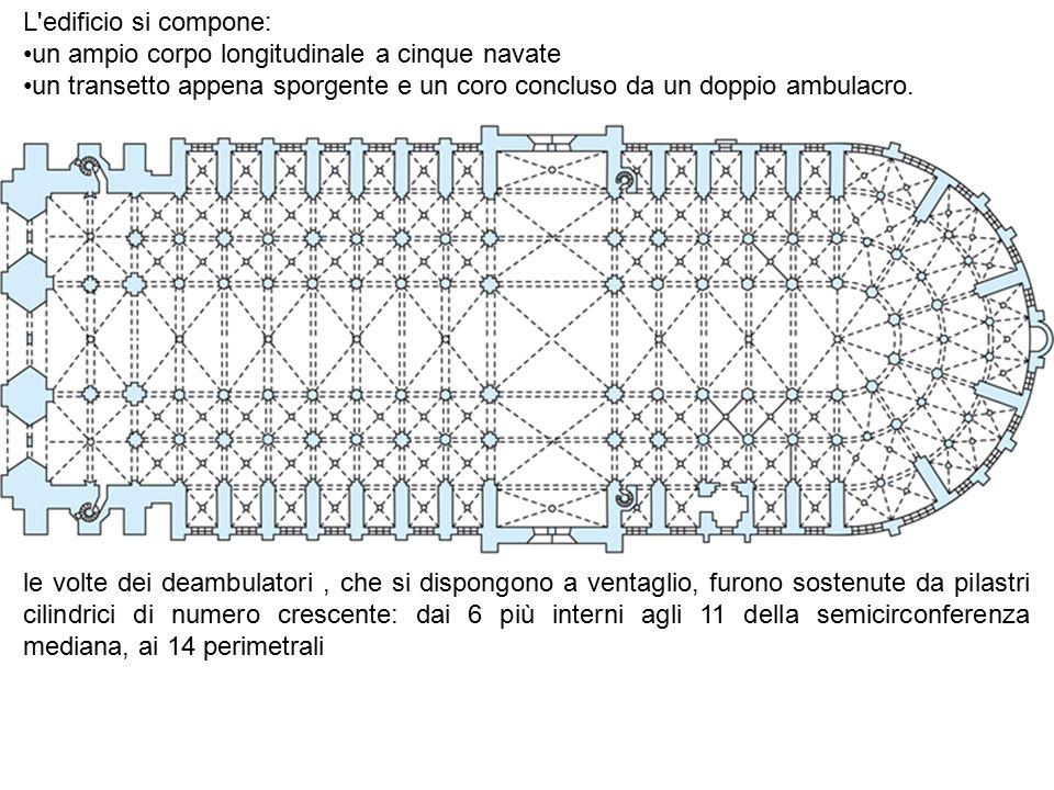 L edificio si compone: un ampio corpo longitudinale a cinque navate. un transetto appena sporgente e un coro concluso da un doppio ambulacro.
