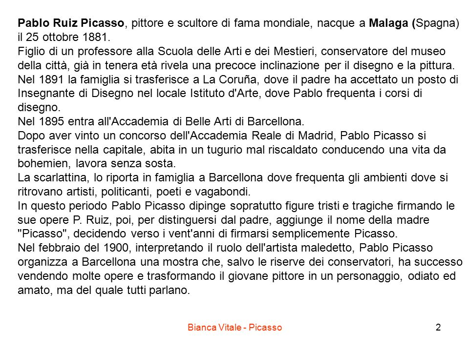 Bianca Vitale - Picasso