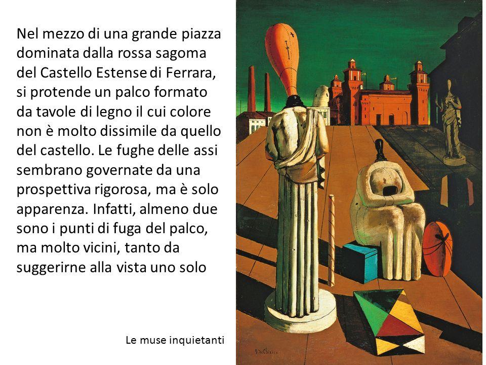 Nel mezzo di una grande piazza dominata dalla rossa sagoma del Castello Estense di Ferrara, si protende un palco formato da tavole di legno il cui colore non è molto dissimile da quello del castello. Le fughe delle assi sembrano governate da una prospettiva rigorosa, ma è solo apparenza. Infatti, almeno due sono i punti di fuga del palco, ma molto vicini, tanto da suggerirne alla vista uno solo