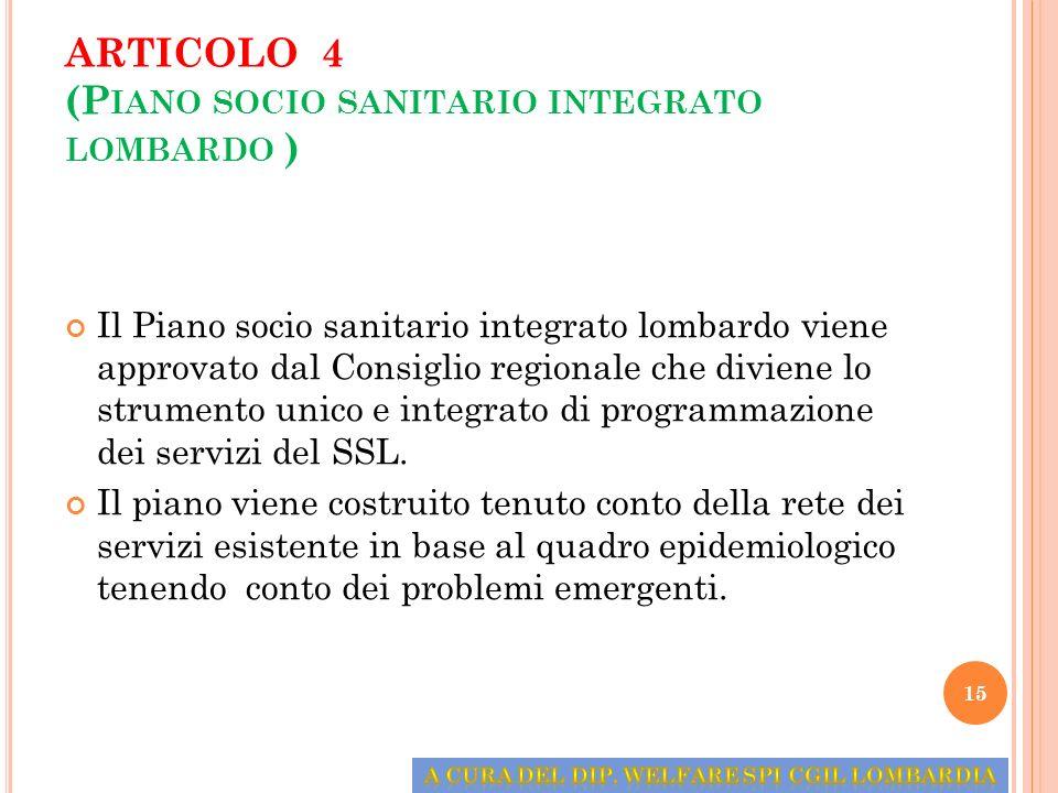 ARTICOLO 4 (Piano socio sanitario integrato lombardo )