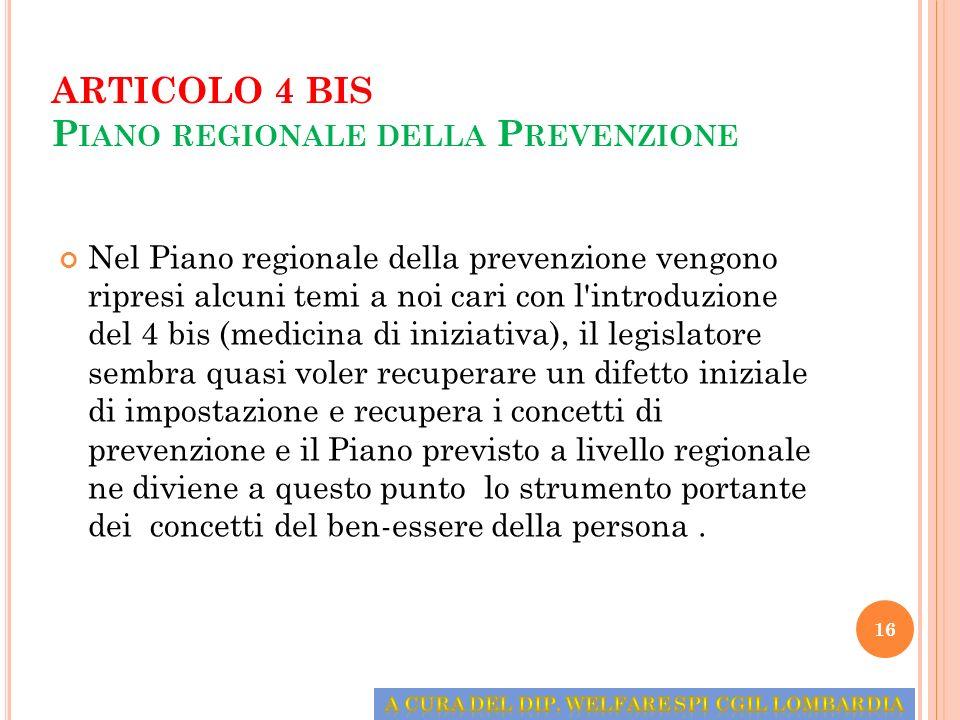 ARTICOLO 4 BIS Piano regionale della Prevenzione