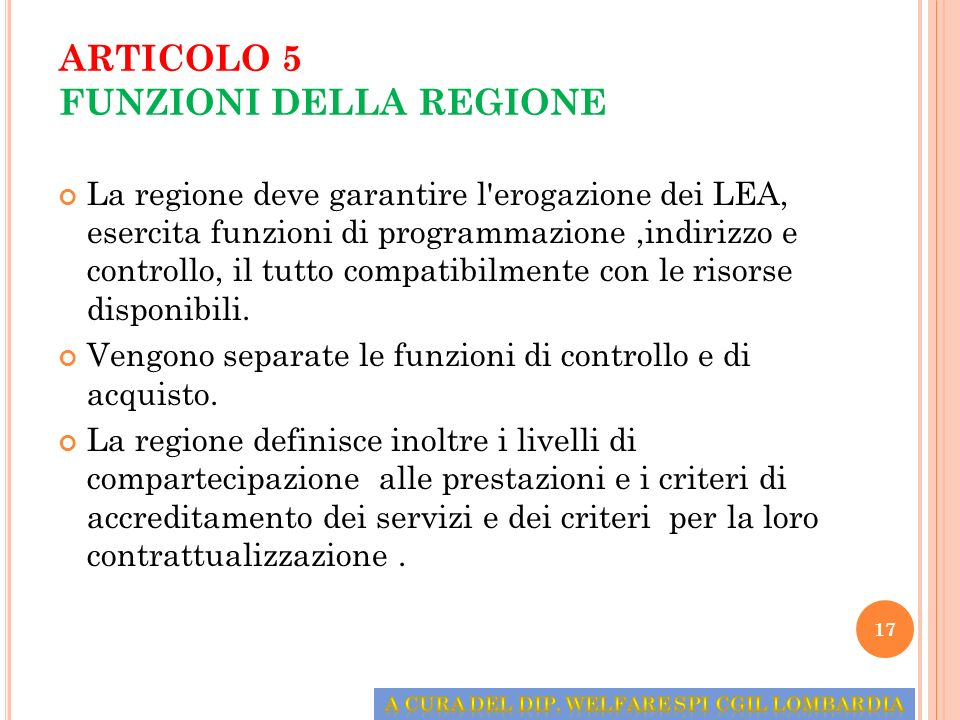 ARTICOLO 5 FUNZIONI DELLA REGIONE