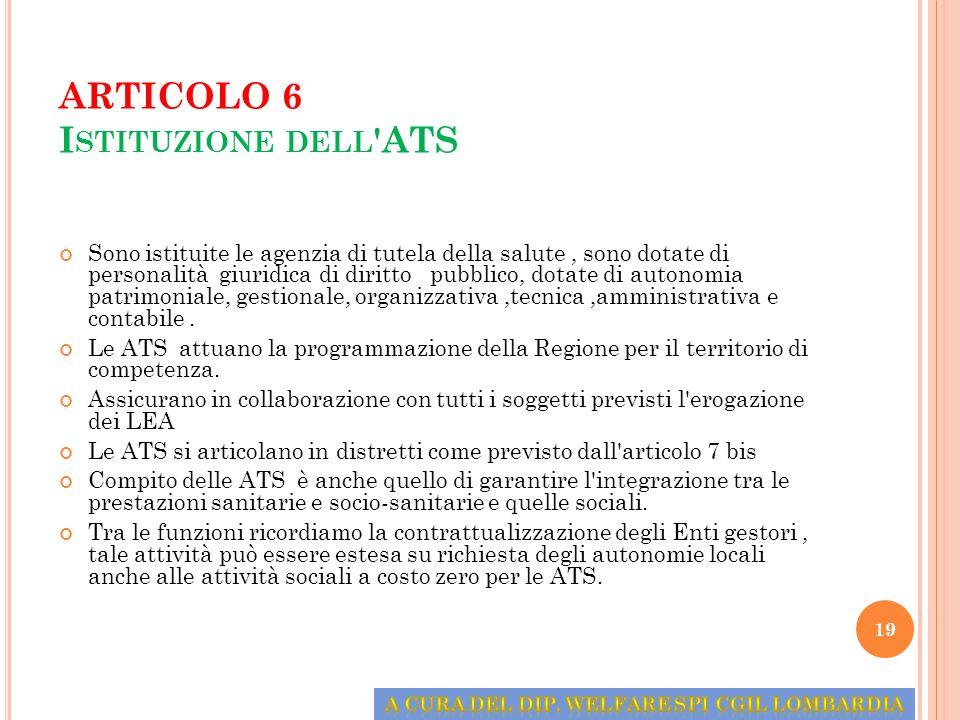 ARTICOLO 6 Istituzione dell ATS