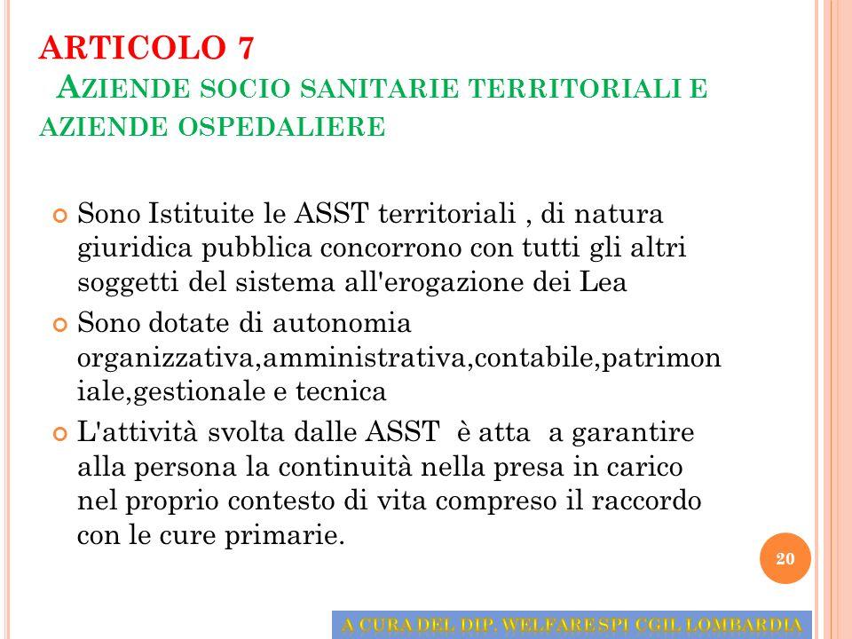 ARTICOLO 7 Aziende socio sanitarie territoriali e aziende ospedaliere