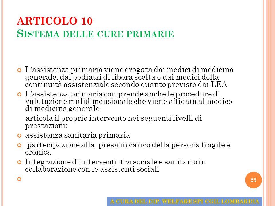 ARTICOLO 10 Sistema delle cure primarie
