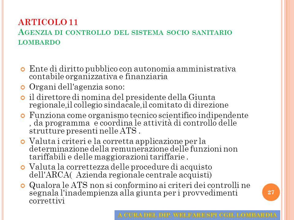 ARTICOLO 11 Agenzia di controllo del sistema socio sanitario lombardo