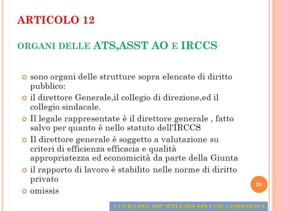 ARTICOLO 12 organi delle ATS,ASST AO e IRCCS