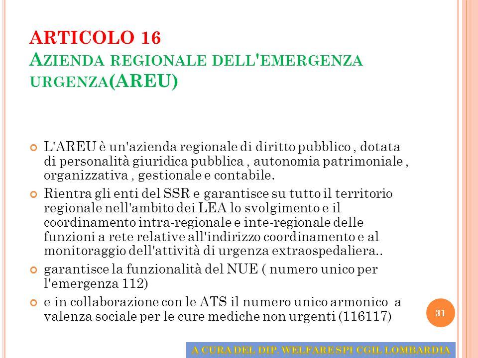 ARTICOLO 16 Azienda regionale dell emergenza urgenza(AREU)