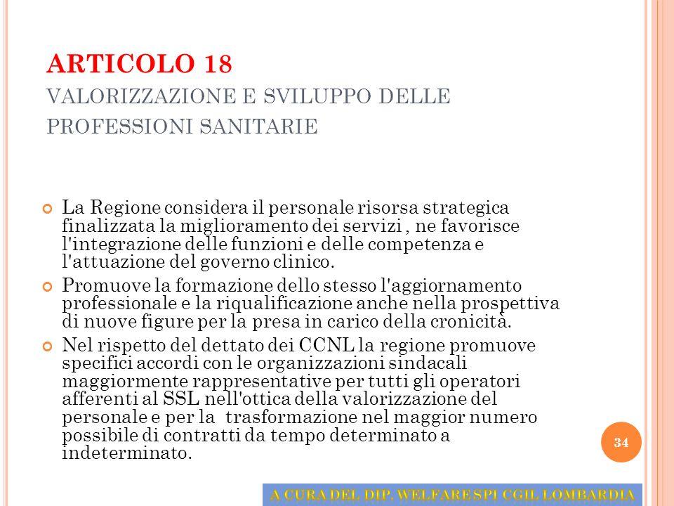 ARTICOLO 18 valorizzazione e sviluppo delle professioni sanitarie