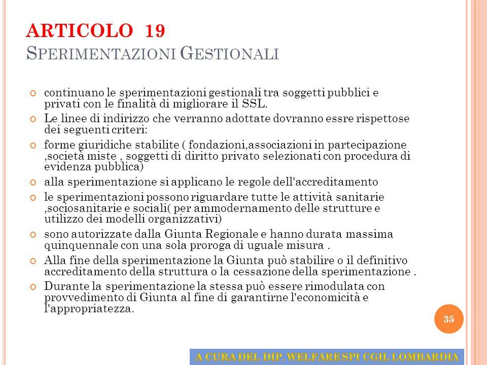 ARTICOLO 19 Sperimentazioni Gestionali