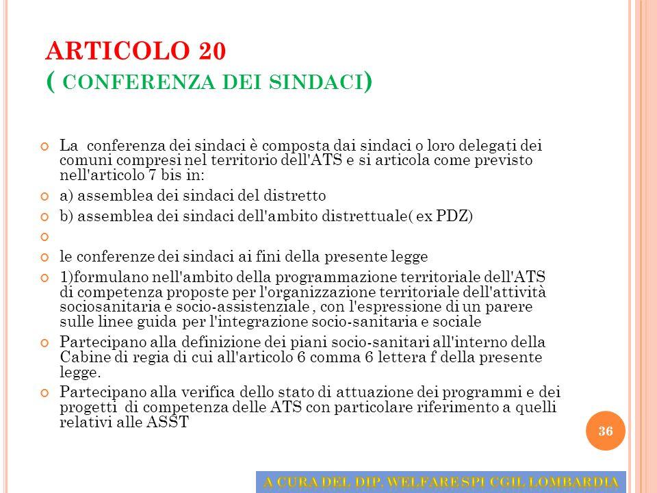 ARTICOLO 20 ( conferenza dei sindaci)