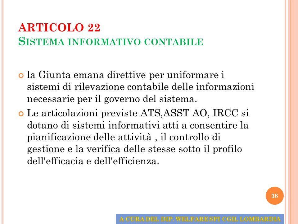 ARTICOLO 22 Sistema informativo contabile