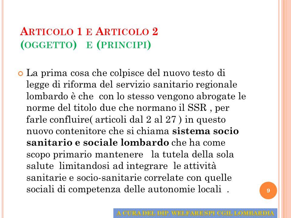 Articolo 1 e Articolo 2 (oggetto) e (principi)