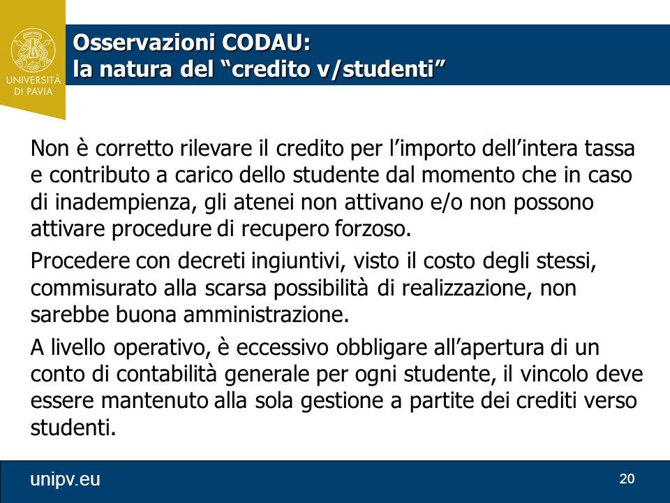 Osservazioni CODAU: la natura del credito v/studenti
