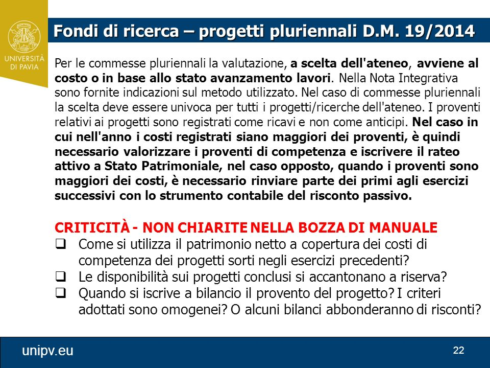Fondi di ricerca – progetti pluriennali D.M. 19/2014