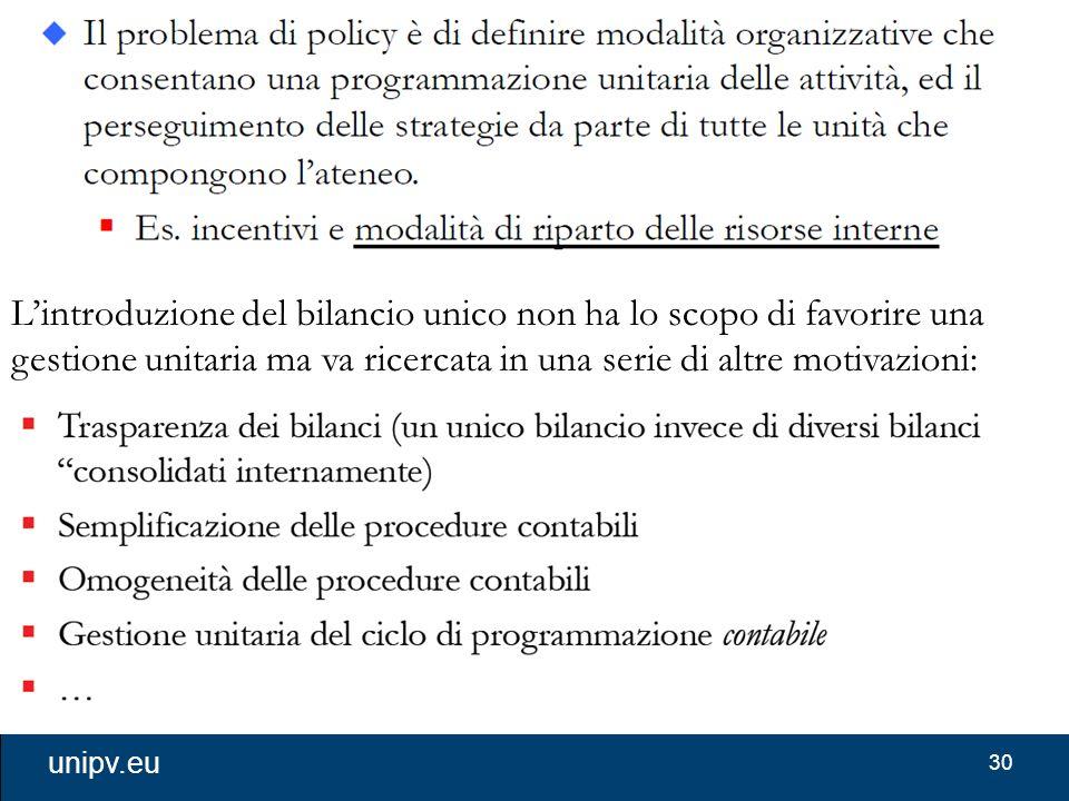 L'introduzione del bilancio unico non ha lo scopo di favorire una gestione unitaria ma va ricercata in una serie di altre motivazioni: