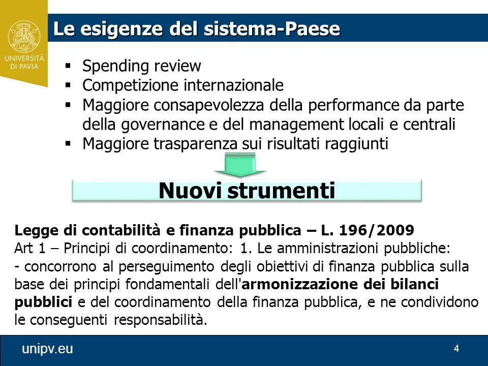 Nuovi strumenti Le esigenze del sistema-Paese Spending review