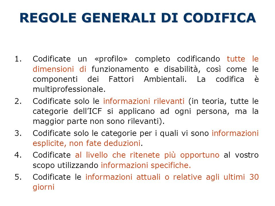 REGOLE GENERALI DI CODIFICA