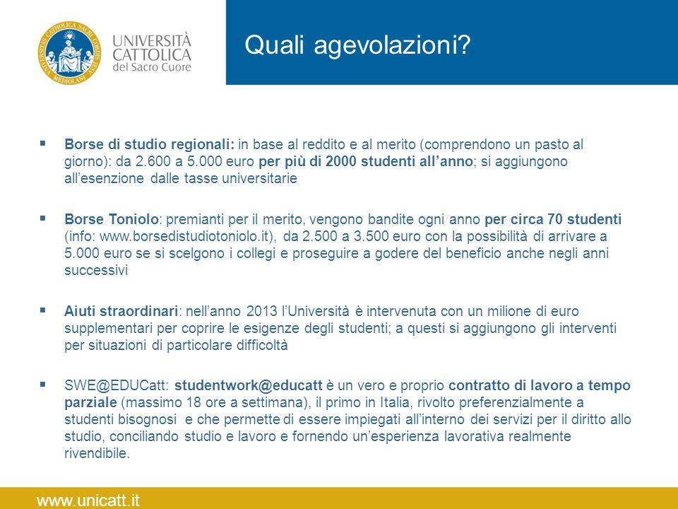 Quali agevolazioni www.unicatt.it