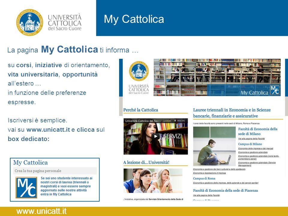 My Cattolica La pagina My Cattolica ti informa …