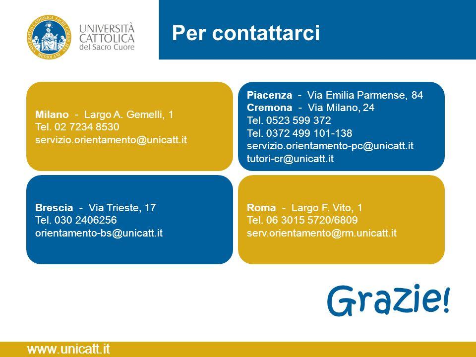 Grazie! Per contattarci Milano - Largo A. Gemelli, 1 Tel. 02 7234 8530