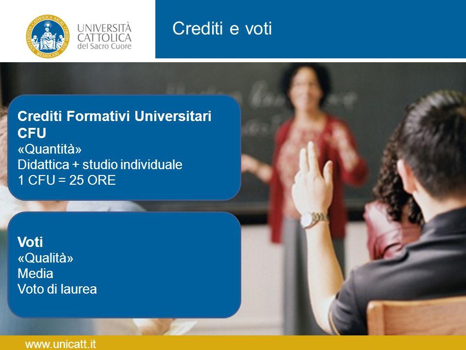Crediti e voti Crediti Formativi Universitari CFU Voti «Quantità»