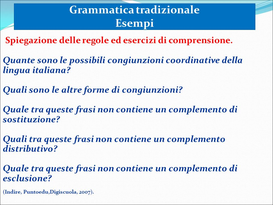 Grammatica tradizionale Esempi