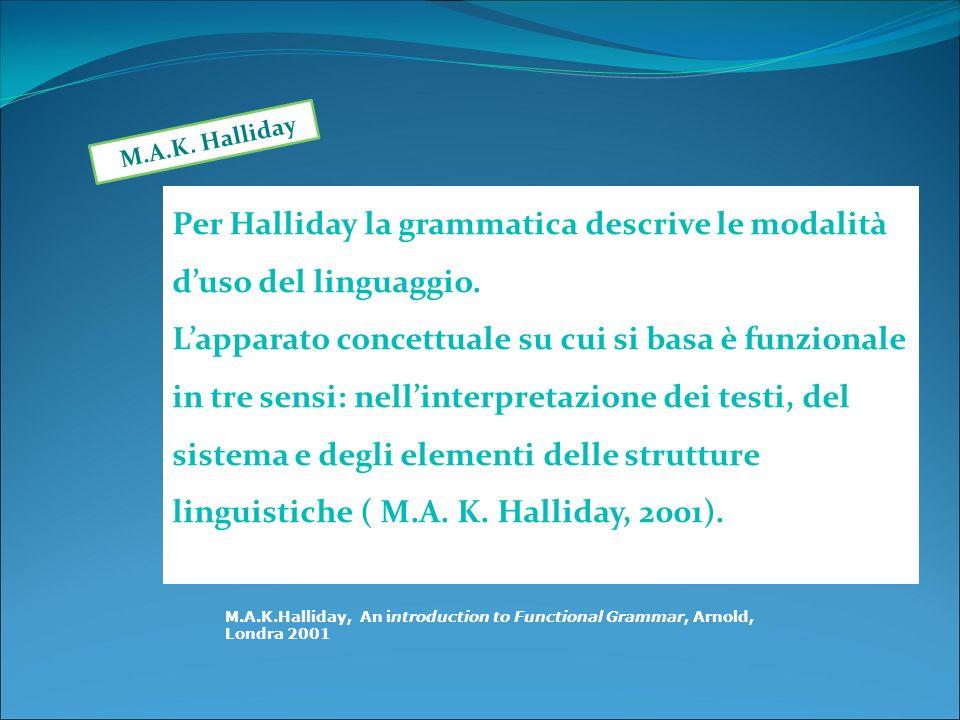 Per Halliday la grammatica descrive le modalità d'uso del linguaggio.