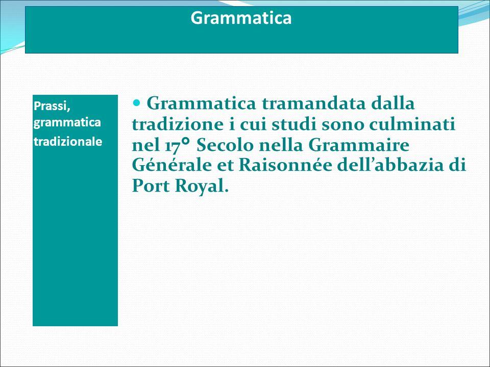 Grammatica Prassi, grammatica. tradizionale.