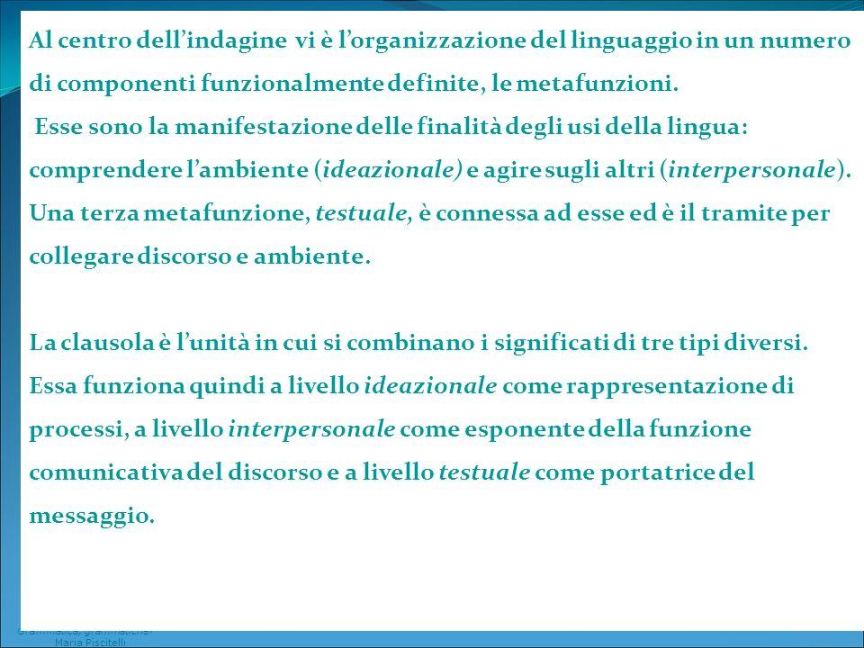 Al centro dell'indagine vi è l'organizzazione del linguaggio in un numero di componenti funzionalmente definite, le metafunzioni.