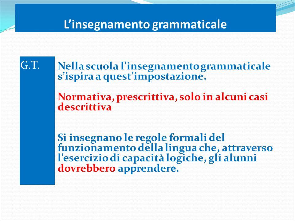 L'insegnamento grammaticale