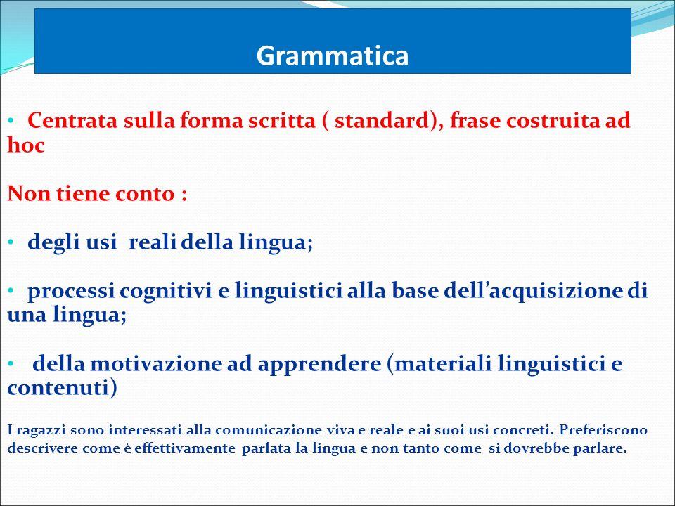 Grammatica Centrata sulla forma scritta ( standard), frase costruita ad hoc. Non tiene conto : degli usi reali della lingua;
