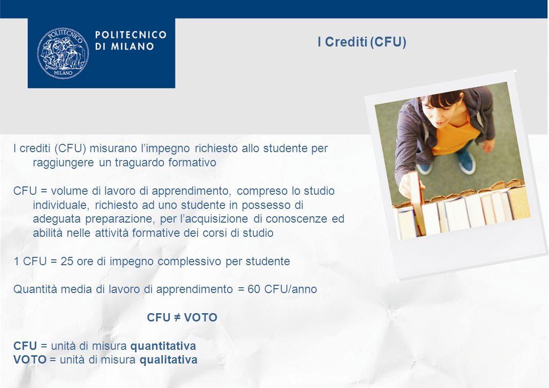 I Crediti (CFU) I crediti (CFU) misurano l'impegno richiesto allo studente per raggiungere un traguardo formativo.