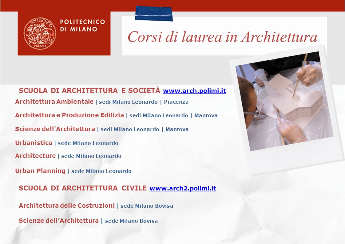 Corsi di laurea in Architettura