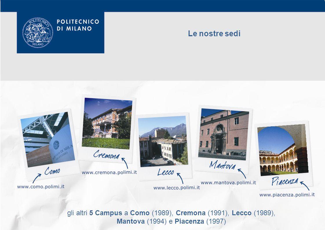 Le nostre sedi gli altri 5 Campus a Como (1989), Cremona (1991), Lecco (1989), Mantova (1994) e Piacenza (1997)