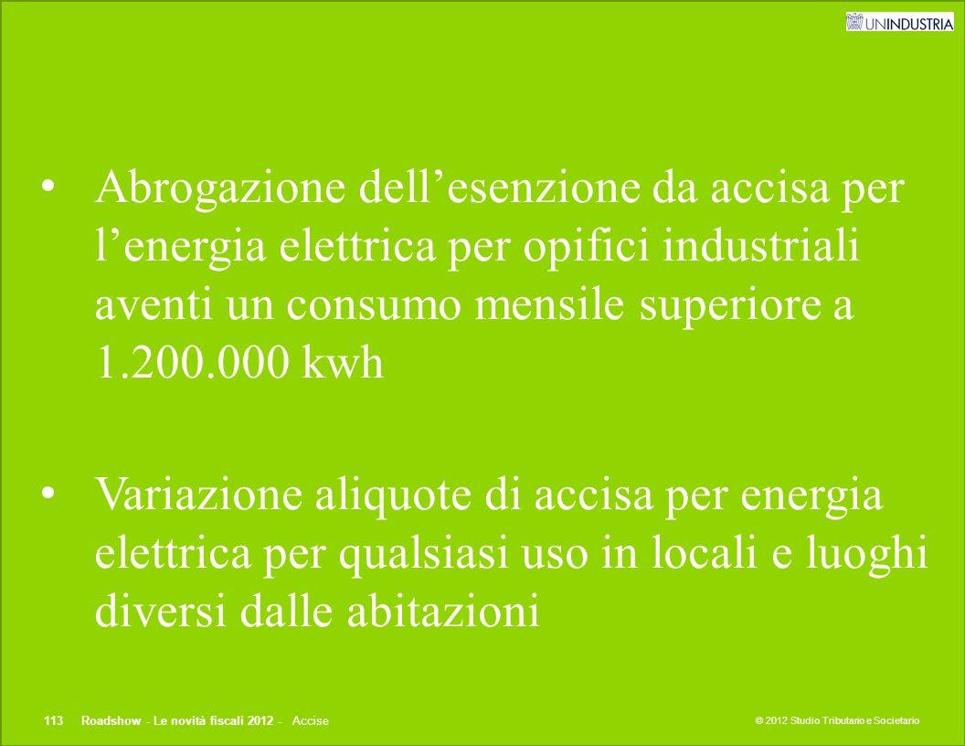 Abrogazione dell'esenzione da accisa per l'energia elettrica per opifici industriali aventi un consumo mensile superiore a 1.200.000 kwh