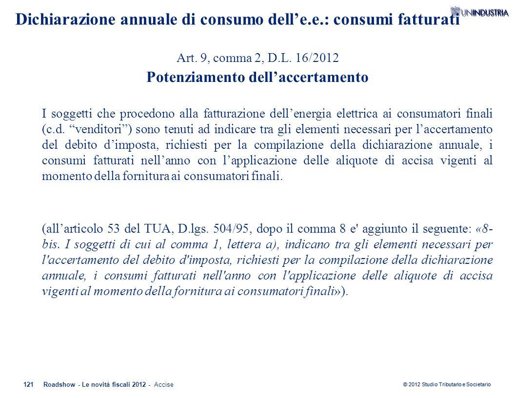 Dichiarazione annuale di consumo dell'e.e.: consumi fatturati