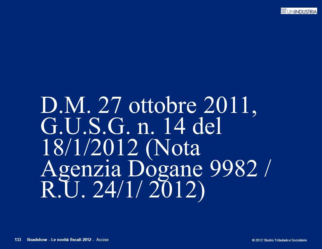 D.M. 27 ottobre 2011, G.U.S.G. n. 14 del 18/1/2012 (Nota Agenzia Dogane 9982 / R.U. 24/1/ 2012)