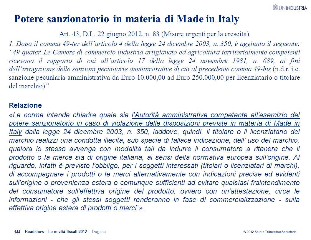 Potere sanzionatorio in materia di Made in Italy