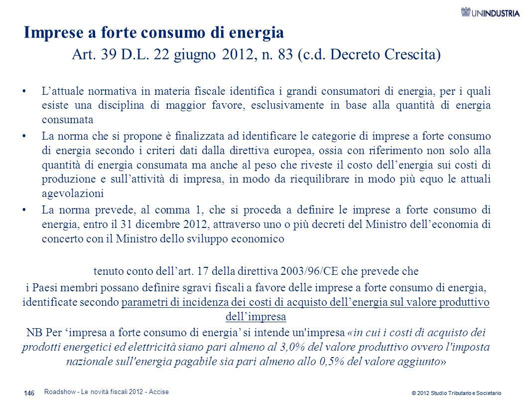 Imprese a forte consumo di energia