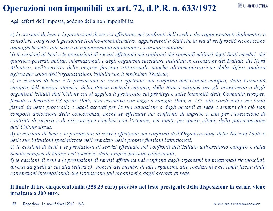 Operazioni non imponibili ex art. 72, d.P.R. n. 633/1972