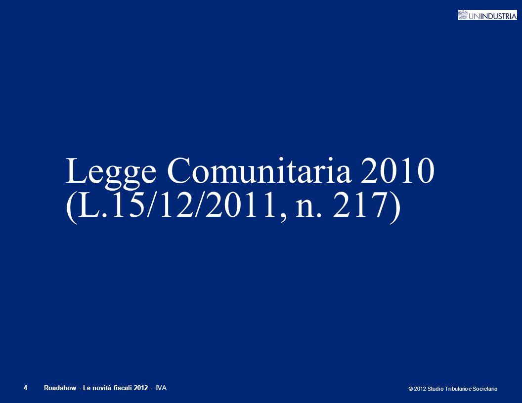 Legge Comunitaria 2010 (L.15/12/2011, n. 217)