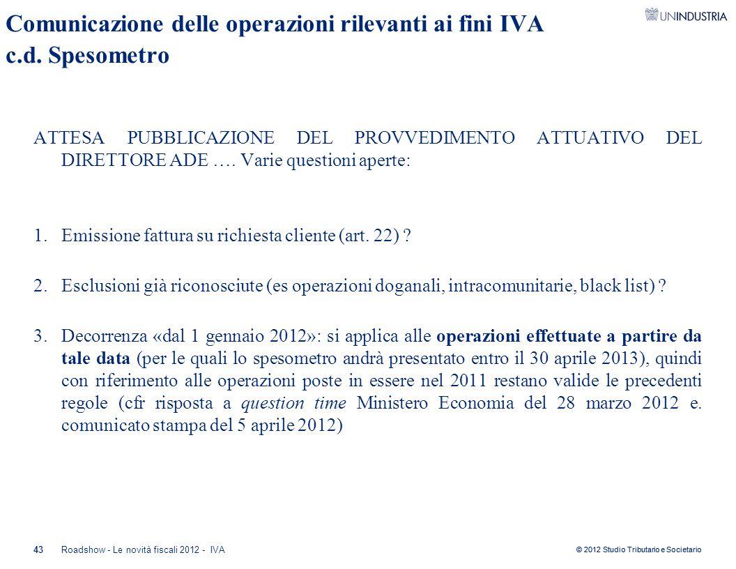 Comunicazione delle operazioni rilevanti ai fini IVA c.d. Spesometro
