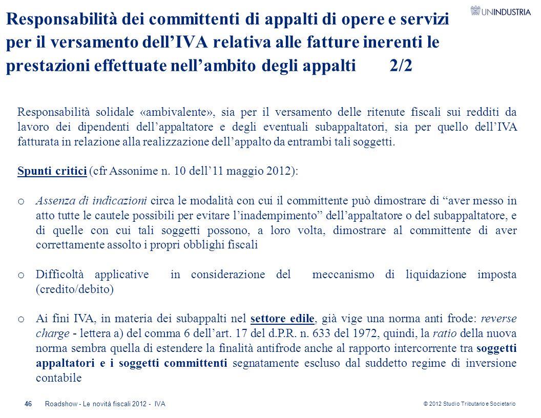 Responsabilità dei committenti di appalti di opere e servizi per il versamento dell'IVA relativa alle fatture inerenti le prestazioni effettuate nell'ambito degli appalti 2/2